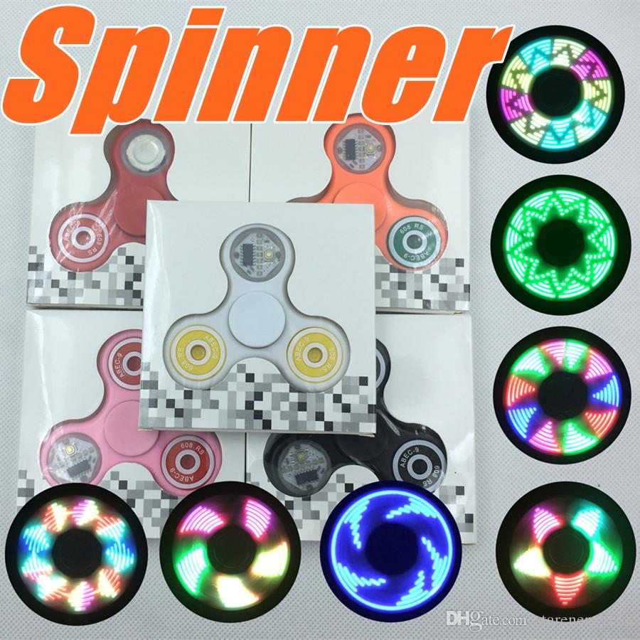 Led Light Up Fidget Spinner With 11 Led Beads 18 Patterns Ce Rohs Metal Tin Box Replaceable Battery Tri Spinner Eds Led Spinners Toys P Zj