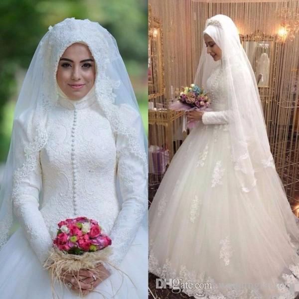 Islamitische trouwjurken hoge hals bescheiden lange mouwen bruidsjurken moslim vintage kant applicaties grote trouwjurk met trein