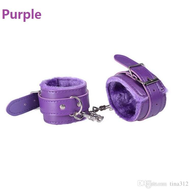 PU Leather Furry Comfortable Handcuffs Restraints Bondage Tools Flirting Tool for Beginners Sex toys for Couple for Women F0020