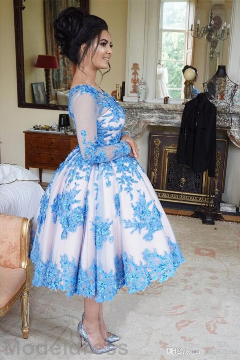 2017 Elegant Prom Dresses Tea-Length Long Sleeve Appliques Beading Plus Size Sexy Short Party Gowns Evening Wear Cheap Custom Made