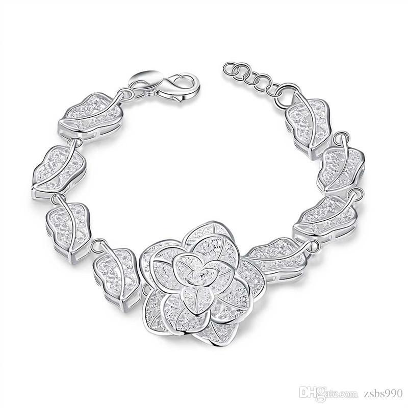 Mode 925 Sterling Silver Rose Flower Charm Armband Kvinnor Högkvalitativ 8 tum Lång Gratis Frakt 10st