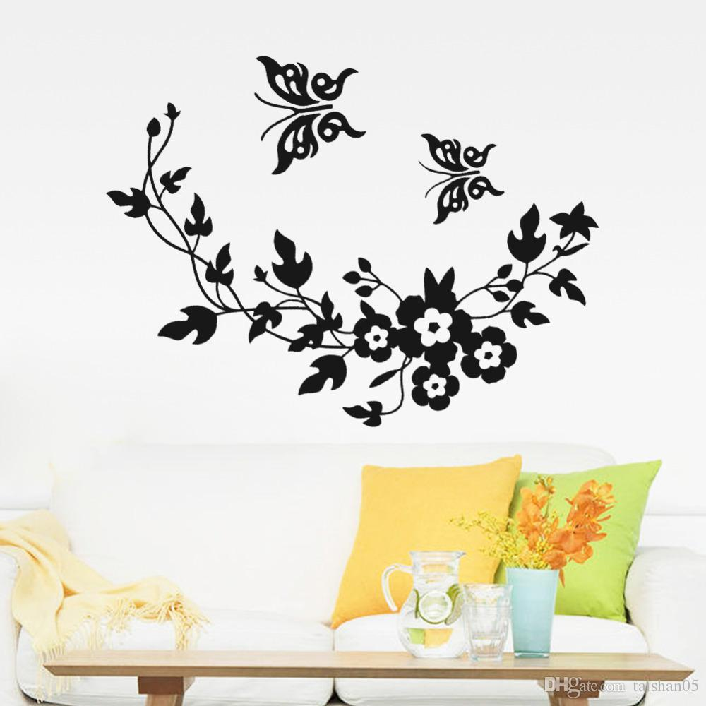 New Butterfly Flower Vine Bathroom Wall Stickers Home Decoration Wall Decals  For Toilet Decorative Sticker 001 Bathroom Wall Stickers Butterfly Flower  Vine ...