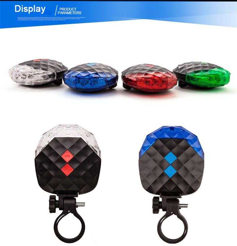 Luce della bicicletta 5 LED Night Cycling Mountain Road Sella della bici Luce di sicurezza MTB Luci posteriori Retroilluminazione lampada