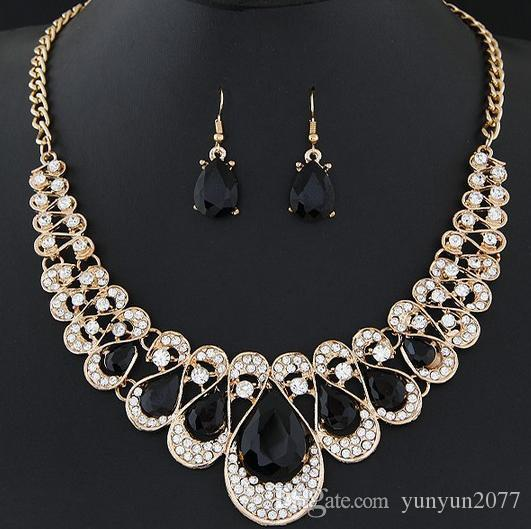 Bohemia Exotic Fashion Accessories Jewelry Sets Luxury Gem Retro Vintage Brand Charm Chokers Necklaces Water Drop Dangle Earrings For Women