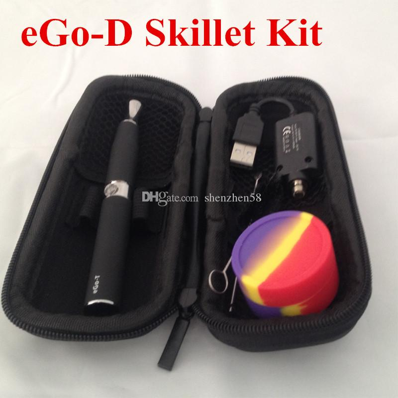 EGO Kit Dry Herb skillet Atomizer Ego-D Kit with 650mah ego t battery Grill wax atomizer E Solid Vaporizer EGO Carrying Zipper Case