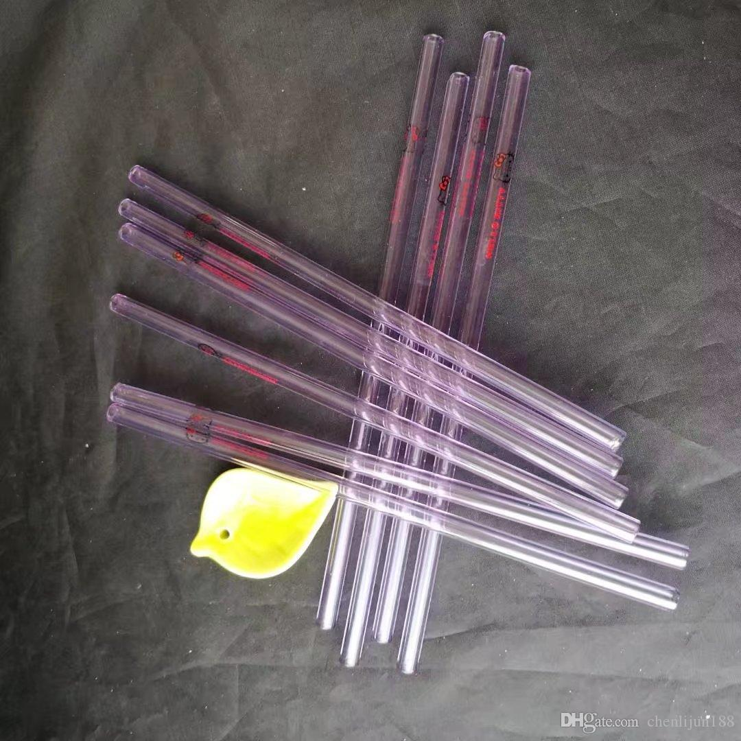 Cartoon glass straw length 20cm diameter 8mm , Water pipes glass bongs hooakahs two functions for oil rigs glass bongs