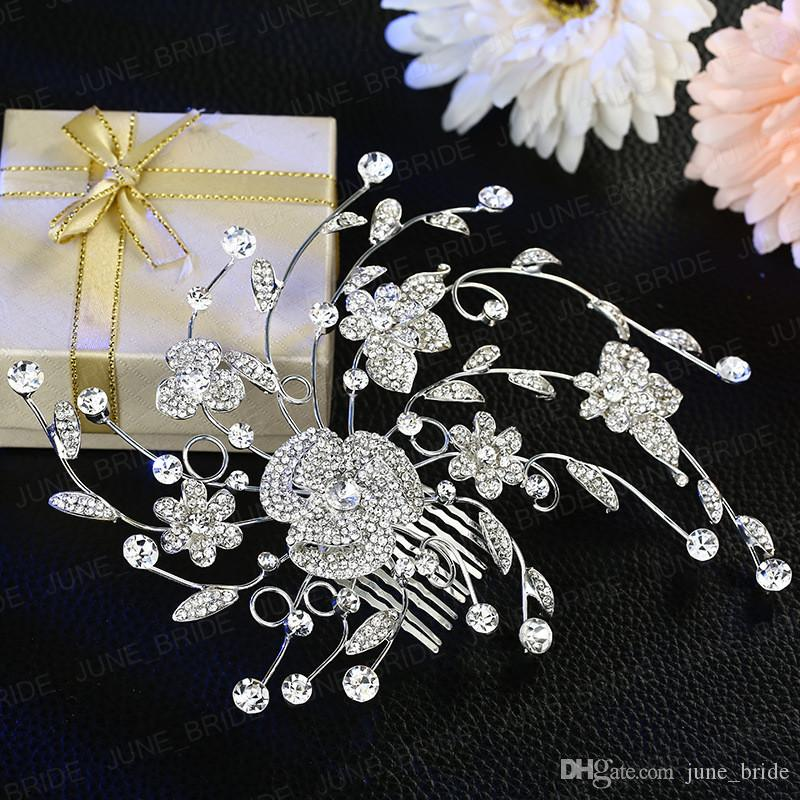 New Style Crystal Floral Bridal Hair Comb Delicate Romantic Rhinestone Wedding Prom Evening Party Headpieces Jewelry Accessory