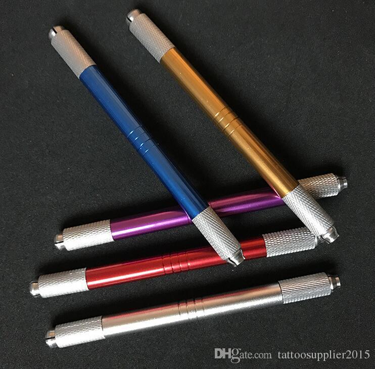 100 stücke 2 kopf verwendet werden kann Kosmetik Microblade Tattoo Pen Manuelle Permanent Makeup Pen Augenbraue Lip Nadelspitze Halter Werkzeug