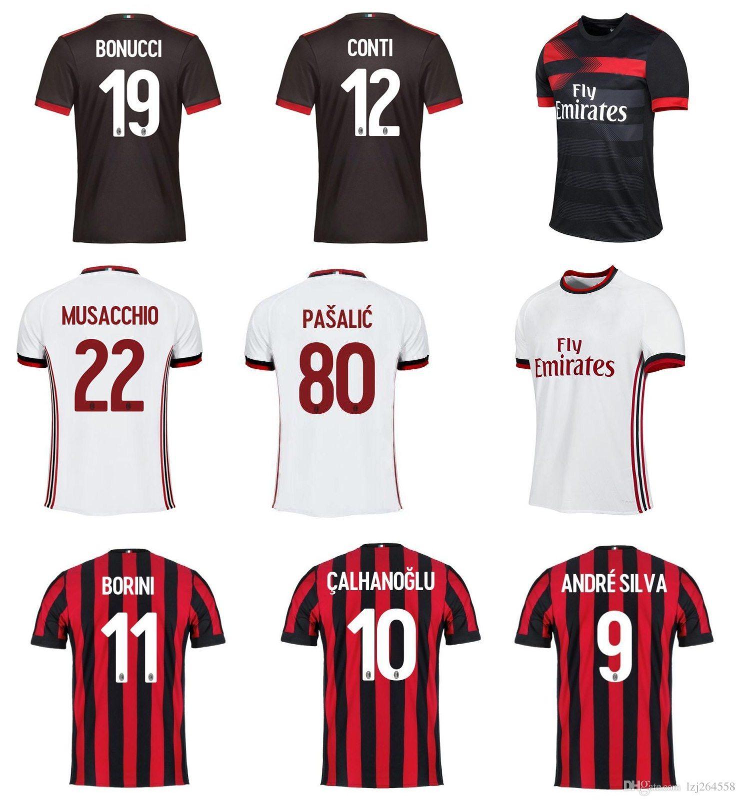 2019 Whosales AC Milan Football Shirt 2018 Soccer Jerseys Uniform 2017  Borini Andre Silva Bonucci R.Rodrigues Calhanoglu KaKa Romagnoli 17 18 TOP  From ... 8ffa730ee