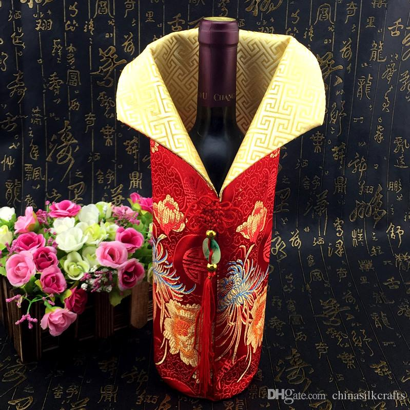 Chinese knot Christmas Wine Bottle Cover Bag Home Party Table Decoration Silk Brocade Bottle Clothes Packaging Pouch