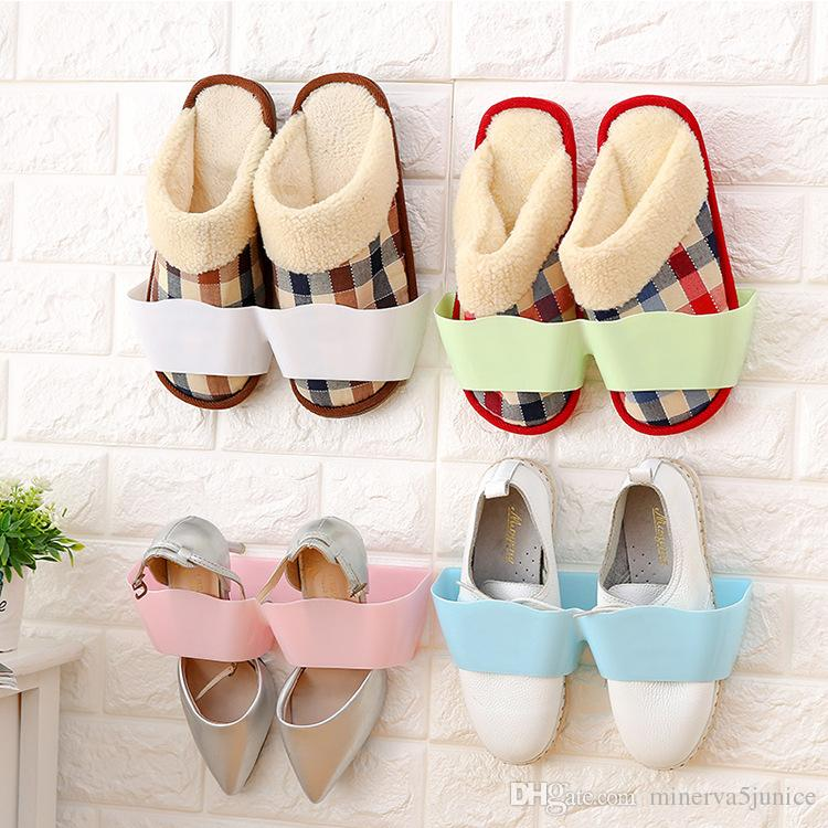 Wall Hanging Shoe Rack 2017 solid wall wall hanging type shoe rack cabide candy color