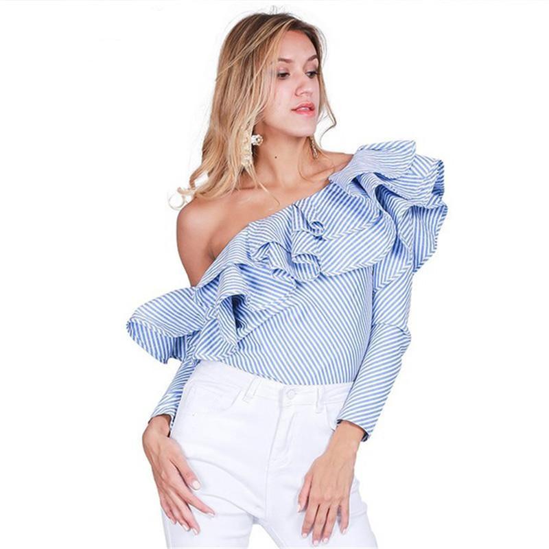 하나의 어깨 프릴 블라우스와 셔츠 여성 2021 우아한 파란색 스트라이프 오프 어깨 탑 여성 셔츠 긴 소매 프릴 탑