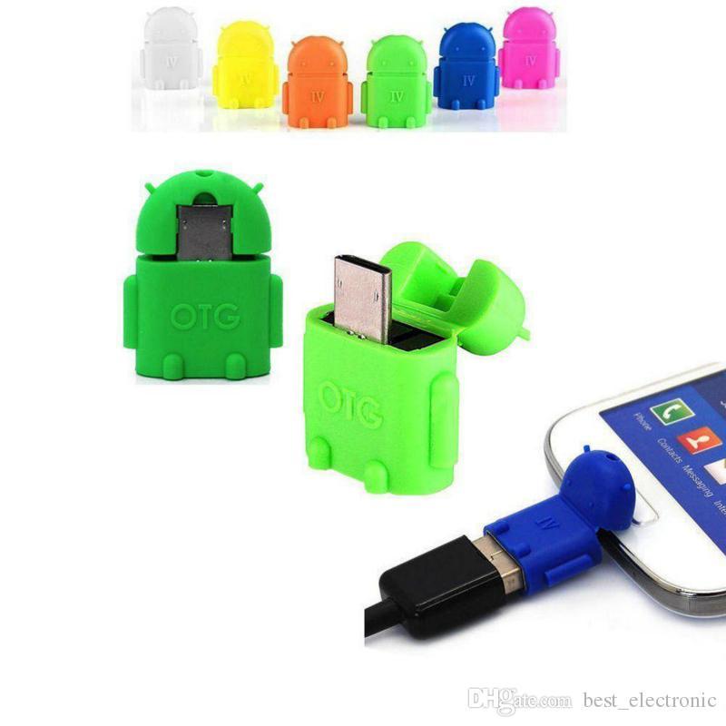 Micro USB zu USB OTG Adapter Android Roboter Form OTG Adapter Handy Verbinden Sie mit USB Flash / Maus / Tastatur Universal