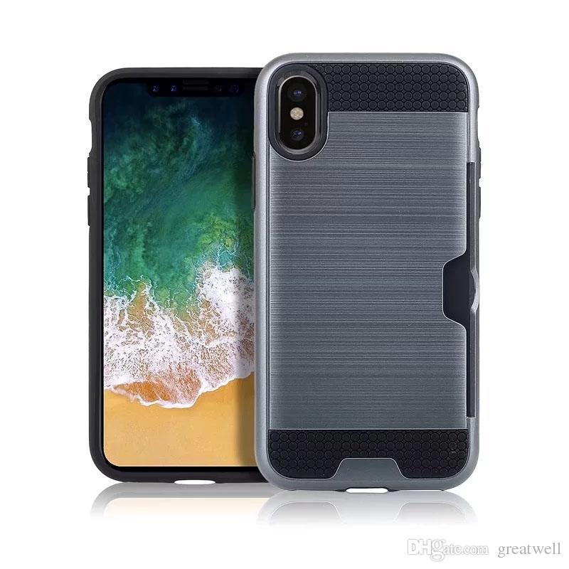 Defender hybride protecteur brossé cas Armure en métal pour iPhone 11 Pro Max XS Max XR 8 7 6 Plus Samsung S8 S9 S10 5G plus Note 10 Note Pro 9