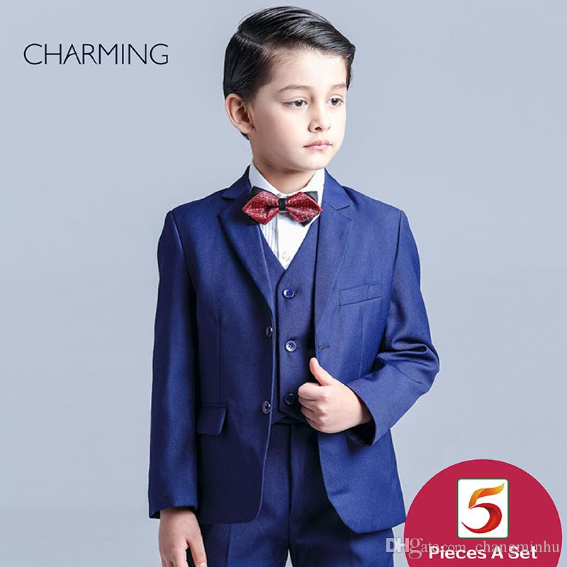 Baby Boy Wear Wedding High Quality Dark Blue Boys Three Piece Suit ...