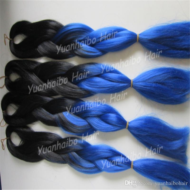 Estoque Jumbo Trança Extensão Do Cabelo 20 inch Ombre Preto Azul Trança Sintética Do Cabelo para As Mulheres Frete Grátis