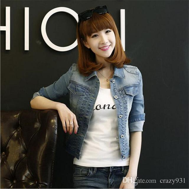 959b43854f1 Autumn Women Denim Jacket Casual Slim Light Blue Vintage Long Sleeve Jean  Jackets Female Short Coat Plus Size Black Leather Jackets Cotton Jacket  From ...