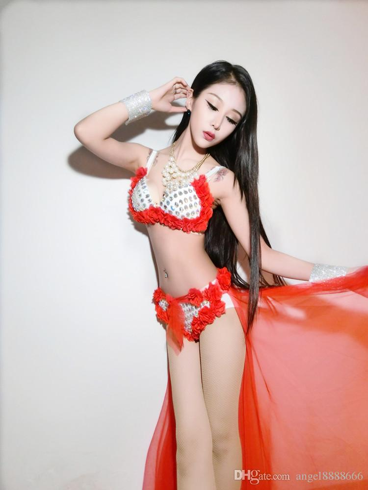 top+shorts full diamond female sexy costumes red blue tail sand lead dance prom stage wear nightclub bar singer show performance clothing