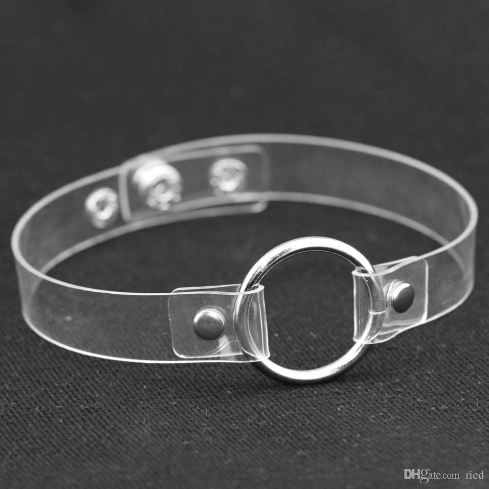 2 Entwurfs-Punk-nette Herz-Halsband-Halsketten transparente PU-Leder-Verschluss-Hals-Halskette Grunge Collares Mujer ras de cou