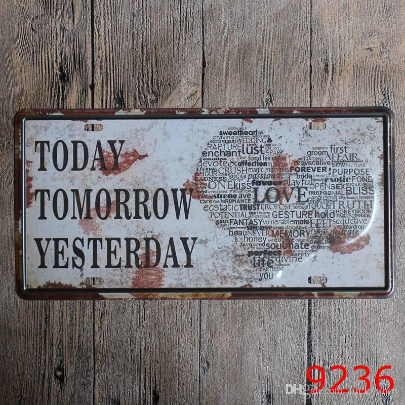 vintage Nostalgia souvenir license plates retro iron painting wall sticker number plate metal craft