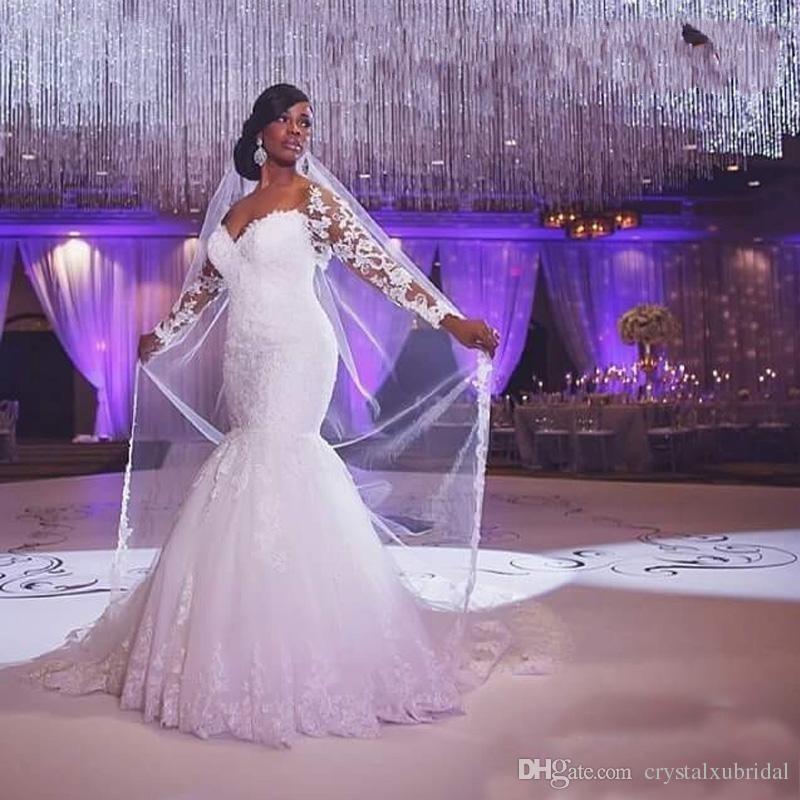 2018 Vintage Cheap Mermaid Wedding Dresses Long Sleeves Sweetheart Lace Appliques Beaded Floor Length Court Train Custom Formal Bridal Gowns