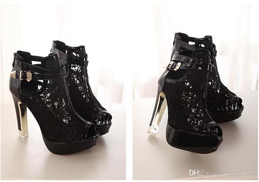 2018 neue sexy spitze aushöhlen peep toe stiefeletten schnalle metal heels atmungsaktiv chic hochzeitsschuhe