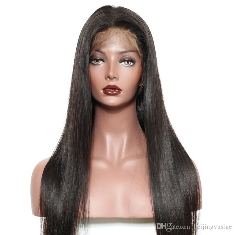 Brazilian Straight Full Lace Human Hair Wigs For Black Women 120% Density Pre Plucked Hairline Lace Front Human Hair Wig