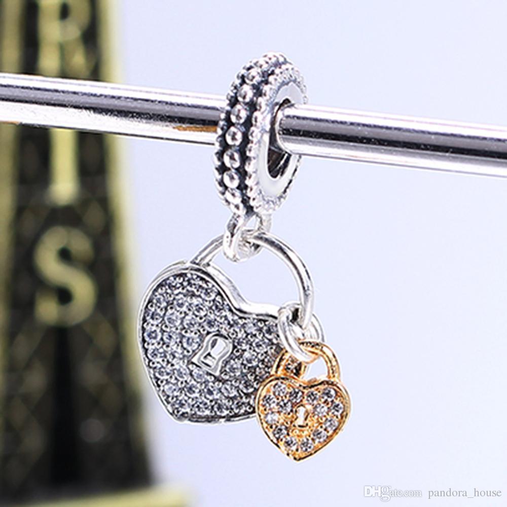 Argent Sterling 925 Non Plaqué 14k Plaqué Or Love Lock Pendentif Charme Charmes Européens Perles Fit Pandora Serpent Chaîne Bracelet DIY Bijoux