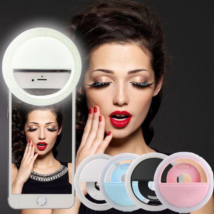 Anillo LED Selfie Light Iluminación suplementaria Night Darkness Selfie Enhancing para fotografía para iphone7 samsung note7 w cable de carga DHL 50