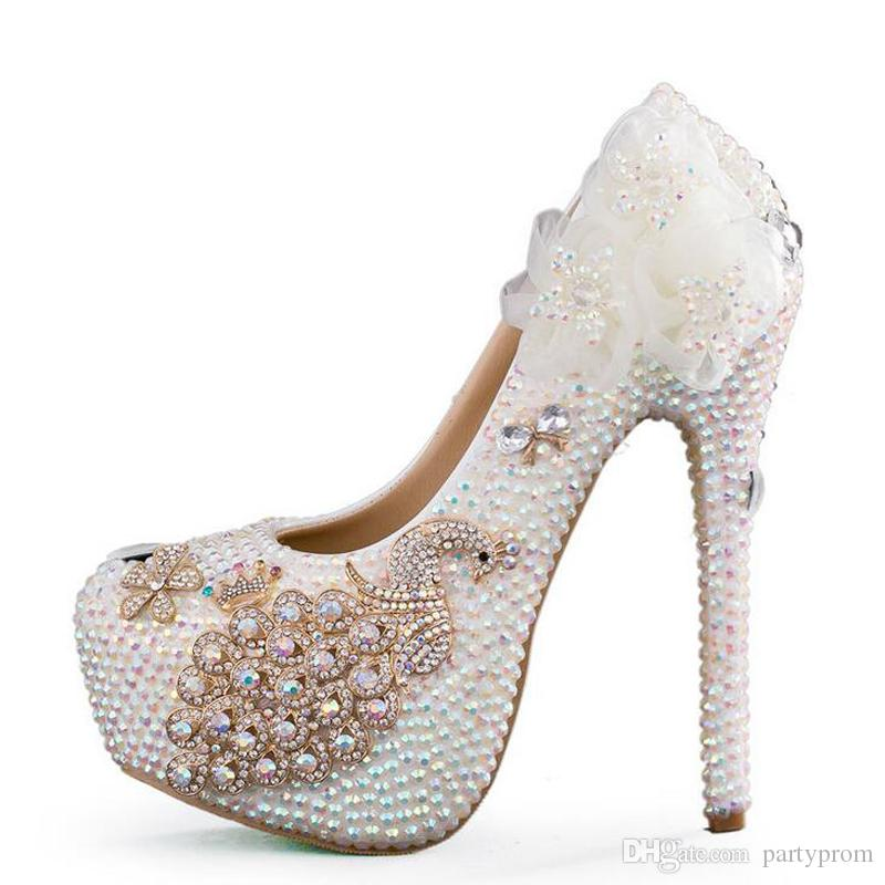 f79fe63984c1 Luxurious Wedding Dress Shoes Crystal High Heel Shoes White Rhinestone  Bride Wedding Ceremony Pumps Phoenix Banquet Prom Shoes Bridal Wedding Shoes  ...