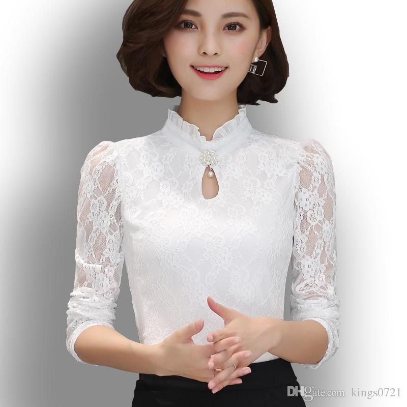 74c541760e9c Plus Size Mulheres Tops Chemise Femme Blusas Femininas Blusas Camisas das  Mulheres Camisa Cinza Branco Preto Crochet Lace Elegante Blusa