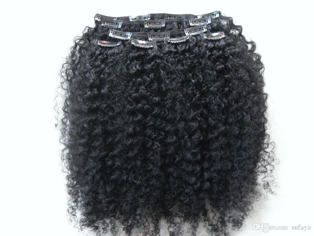 brazilian human virgin remy clip ins hair extensions kinky curls hair weft jet black 1# color
