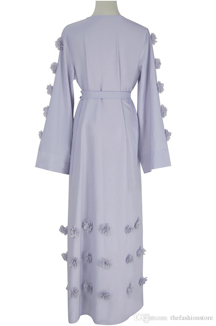 2018 Новое прибытие сладкий женщин с длинным рукавом мода кардиган мусульманские роскошные Abaya платье с поясом M-L