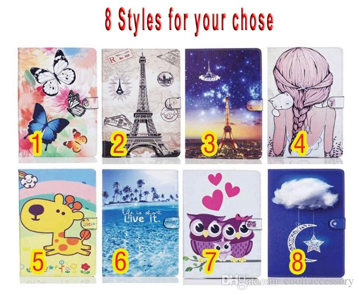 For Ipad Mini 1 2 3 4 Tablet Cartoon Smart Wake Up Sleep Wallet Flip Leather Case Pouch Soft TPU Stand Girl OWL Butterfly Tower Skin Cover