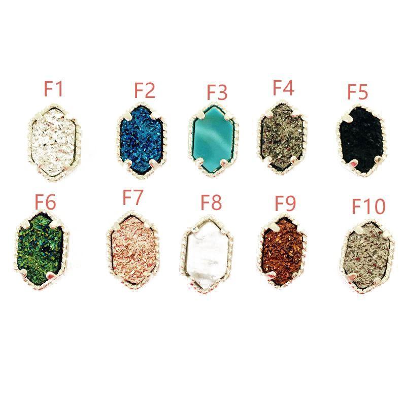 Hot Popular 4 Styles Drusy Druzy Earrings Silver Gold Plated Geometric Gemstone Faux Stone Stud Earrings For Women Jewelry