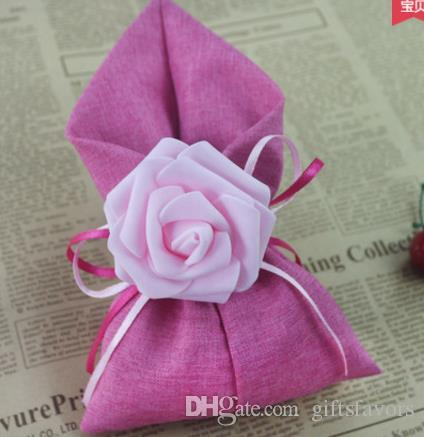 fabric linen wedding favor holders candy chocolate rose flower bags for guests wholesales