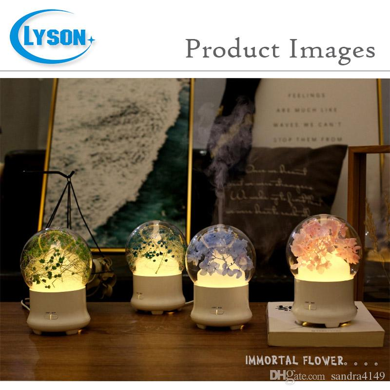 Preserved Fresh Flower -changing LED Ultrasonic Aroma Air Humidifier Mini Essential Oil Diffuser 100ml Baby's Breath Cyan