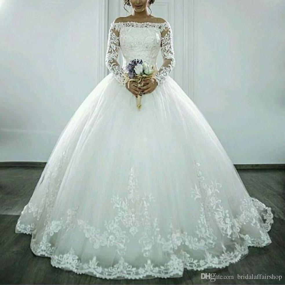 Discount Ball Gown Bateau Neckline Court Train Tulle Wedding Dress ...