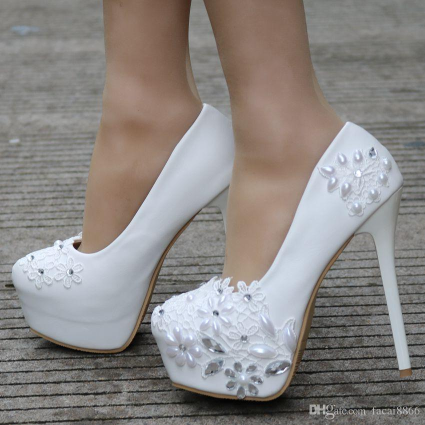 d7c530b1f84d Fashion White Lace Wedding Shoes Pumps for Women High Heels Thin Heels  Platform Heels Round Toe Wedding Pumps Shoes Dress Shoes High Heel Pumps  Online with ...