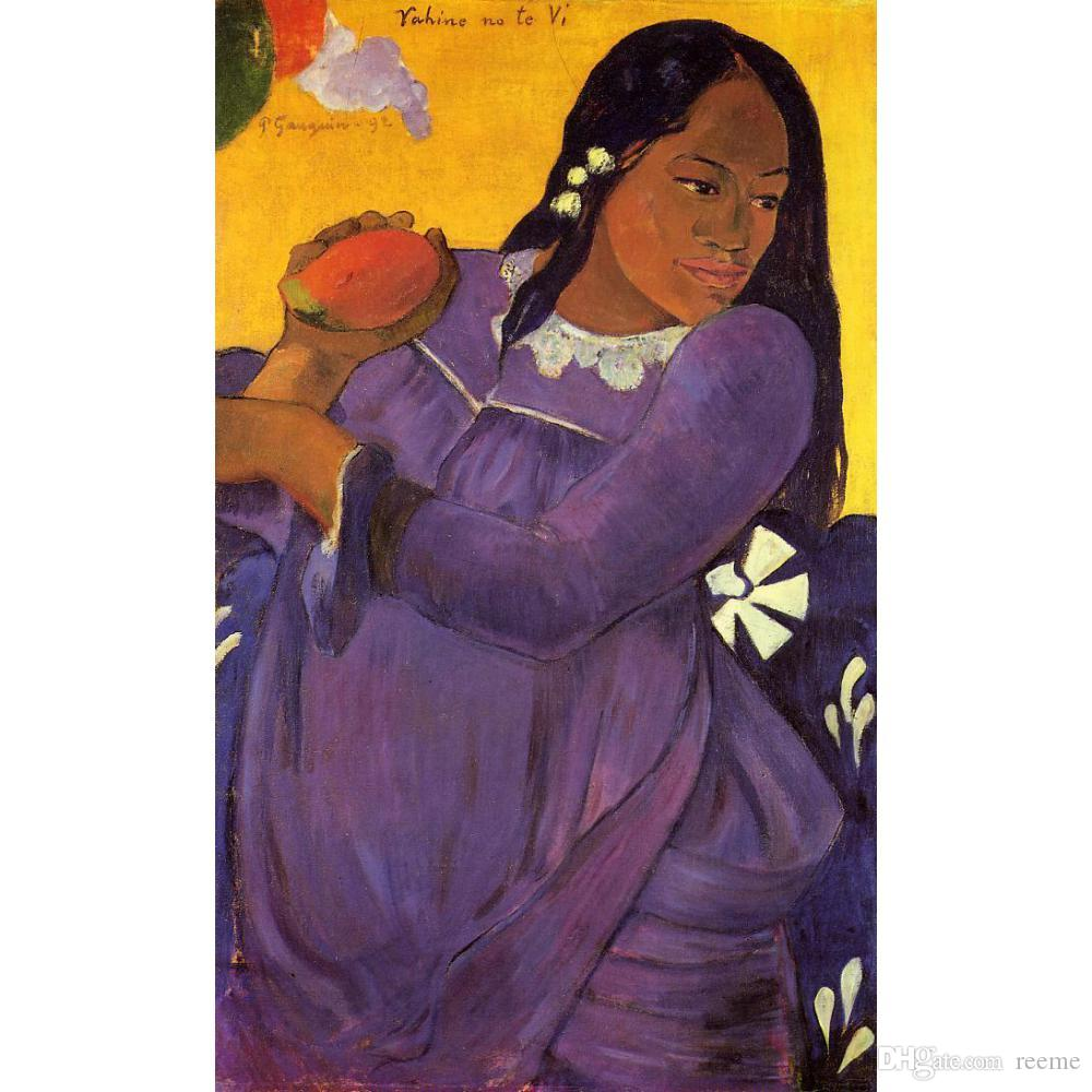 High quality Handmade Paul Gauguin oil Paintings reproduction Woman with a Mango for Bedroom decor