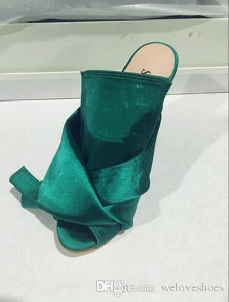 2017 новое прибытие женщины высокие каблуки боути сандалии скольжения на Гладиатор сандалии желтый цвет сексуальная партия обувь тонкий каблук слайды