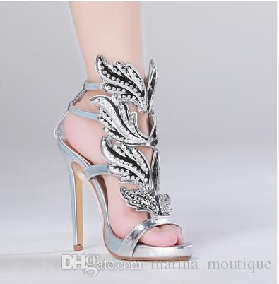 2017 Winge mariposa hoja mujer sandalias Rhinestone stiletto tacones gladiadores de verano de cuero genuino con tiras de oro de la boda zapatos de vestir