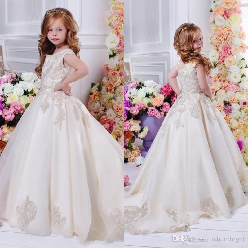 Arabic Dubai 2017 Wedding Flower Girl Dresses With 3d Floral Lace