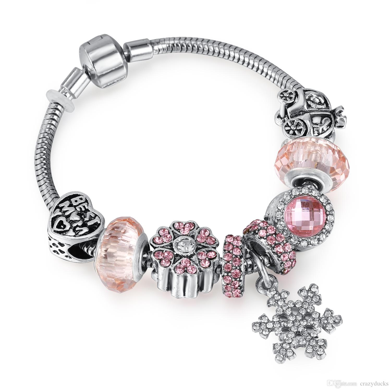 Floating Locket Charm Bracelets For Women, Fits European Bead Charms, Magnetic, 25mm, 19 cm