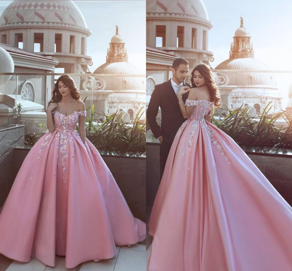 d395b2dbdb7 2018 New Pink Said Mhamad Evening Dresses Ball Gown Handmade Flowers Off  Shoulder Court Train Formal Prom Party Gowns Custom Turquoise Evening Dress  Velvet ...