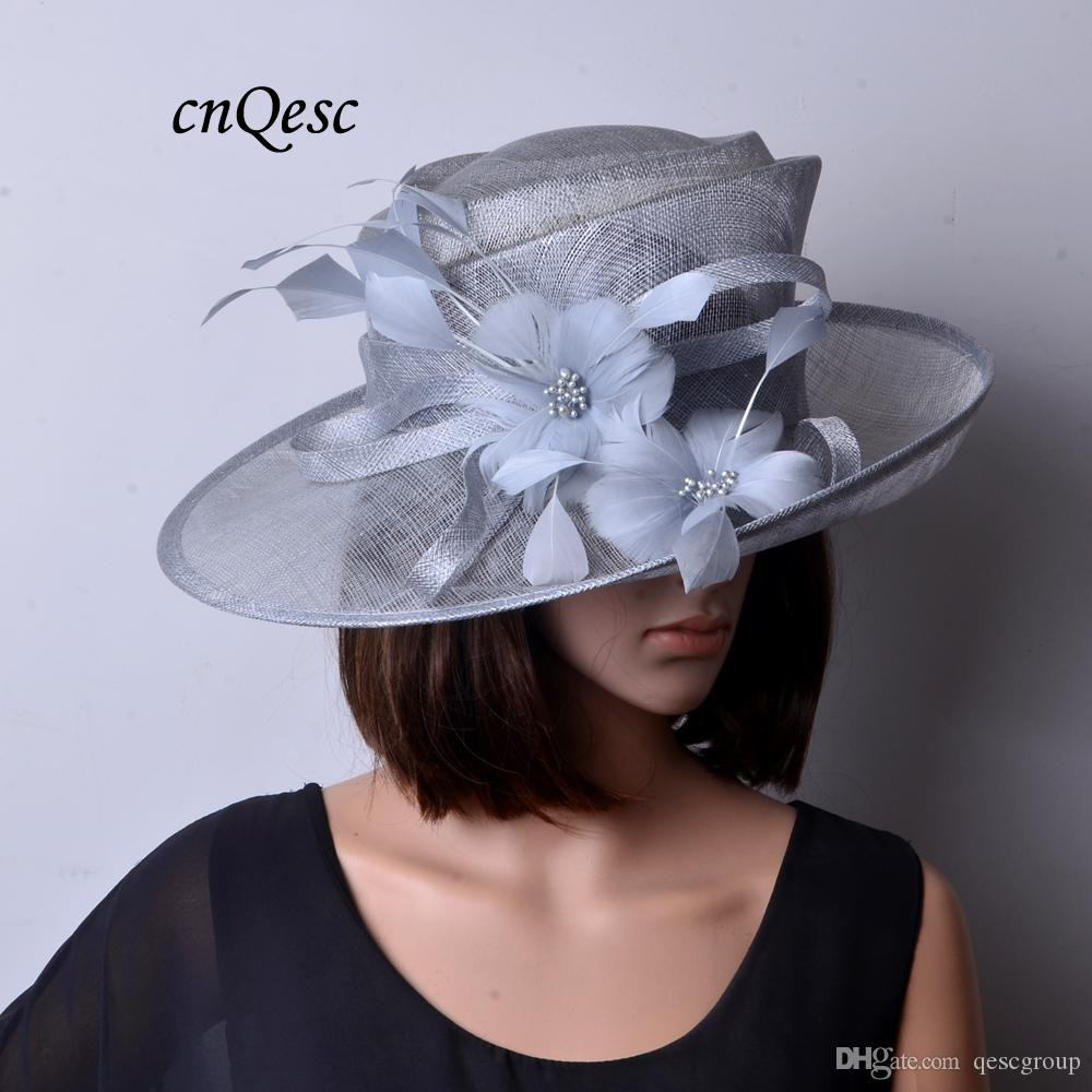 NEW BIG SILVER GREY Sinamay Hat Wedding Hat Fascinator Fedora With Feather  Flower For Kentucky Derby 655ec6d1b44