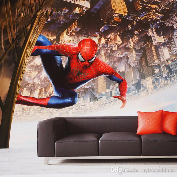 Spiderman Bedroom Wall Art Luxurious Bedroom Interior Design Ideas Bedroom Black And White Bedroom Design For Guys: Spider Man Wall Mural Custom 3D Wallpaper Super Hero Photo