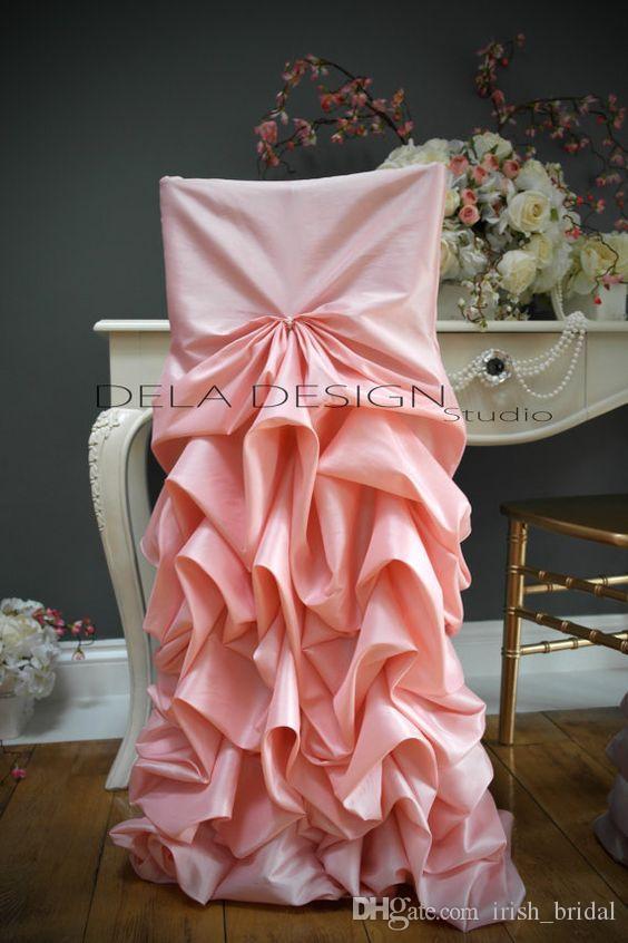 2016 Taffeta Draped Blush Pink Chair Sashes Romantic Beautiful Chair Covers Cheap Custom Made Wedding Supplies