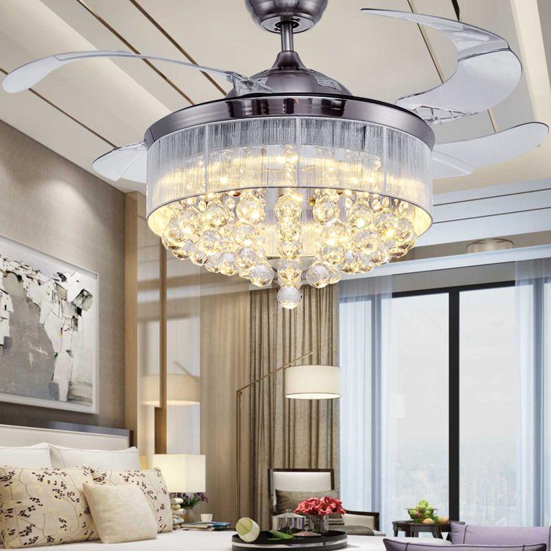 Großhandel Led Deckenventilatoren Licht 110 240v Unsichtbare Klingen  Deckenventilatoren Moderne Lüfterlampe Wohnzimmer Europäische Kronleuchter  ...