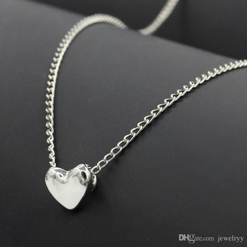 Mulheres Moda Jóias Amante Coração Pingente de Colar Graça de Prata de Ouro Colar de Coração para Meninas Presentes de casamento Das Mulheres